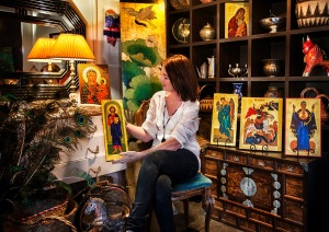 Nadine Hamilton owner of Studio Revamp in Doonan with Icons painted by Liz Coggins. October 2015.